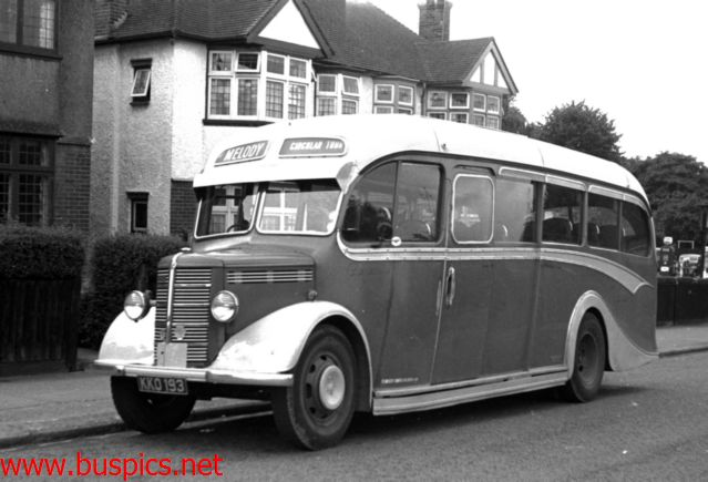 Melody Coaches KKO193 Bedford OB Duple from new in 1948